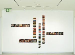 "Installation view, ""Stacks and spines,"" in ""Stacked & Shelved,"" Diane E. Ballweg Gallery, Madison Public Library, 2015"
