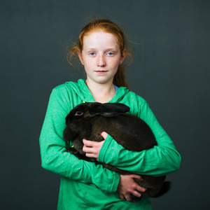 Amber Read (11) from Goldendale, Washington with her bunny Doe (10 months) of «American Sable» breed.