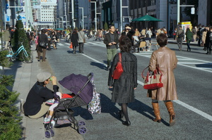 weekend afternoon view of Ginza  Street