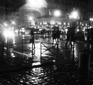 On the road, Paris, wet and shiny roads