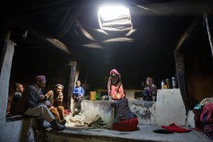 A Wakhi family inside a typical Wakhi house.