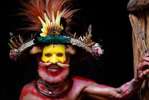 A Huli wigman tribesman from Papua New Guinea