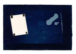 Hidden Memory 04. Cyanotype + collage. 40 x 50 cm