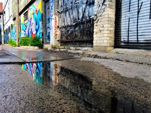 lane with graffiti and reflection