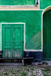 Emerald green shuttered doors & gate, Archita 2015