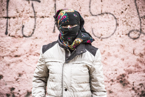 A female guerilla fighter of the YPS is posing in Kurdish-dominated city of Nusaybin in southeast Turkey, near the Syrian border. Heavy gunfights took place during several curfews between Turkish government special forces and Kurdish YPS guerilla fighters.