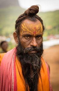 Shaivas Sadhu with long beard, Kumbha Mela, India, 2015