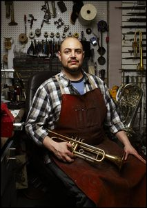 Josh Landress, Brass Instrument maker and restorer. Midtown Manhattan