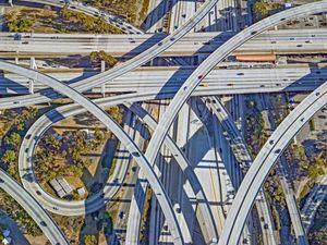 Century and Harbor Freeway Interchange, LA.