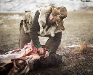 Alex with Buffalo Carcass