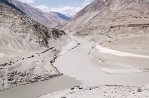 THE CONFLUENCE OF THE RIVER INDUS AND THE RIVER ZANSKAR