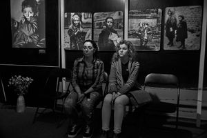 Teenagers after holocaust expososition in Vilnia Gaon Jewish State Musemum