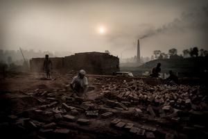 The brick field. Brick Factory, Nepal