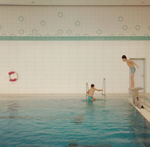 Wolfsburg, Germany. December, 2016. Refugees take part in swimming lessons as a way of coping through trauma experienced on their journey to Europe.