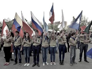 The Armenian scouts holding the flags of countries and organizations that officially recognized the Armenian genocide.
