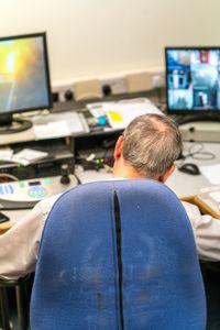 Security officer Stan Rushton- Night watchman asleep at desk