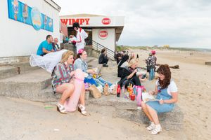 The beach in Porthcawl during the annual Elvis Festival, 2016