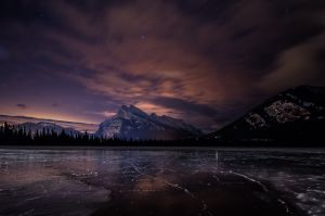 Rundle Mountain at Night