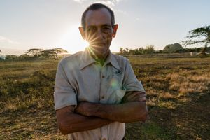 A man lives in Valley of the Mgotes in Vinales, Cuba