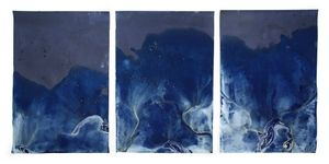"Littoral Drift #473 (Triptych, Point White Beach, Bainbridge Island, WA 05.17.16, Five Waves at Apex of Low Tide)36x72"", Unique Cyanotype"