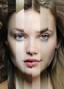 BLOND FACE of  8 different ethnic origins. Art-collage №6