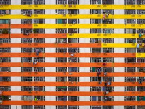 """From the series """"Architecture of Density,"""" hyper-detailed, large-scale views of high-rise structures that are homes to millions in modern Hong Kong."""