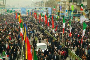 The people in anniversary`s ceremony of islamic revolution of iran.