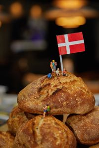 A pile of buns with the danish flag