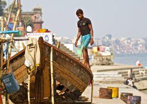 under repair, ghats of the Ganges, Varanasi, India