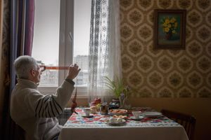 "Sunday. My father in his home in Yerevan, Armenia. From the series ""Mornings (With You)."" © Diana Markosian / Magnum Photos"