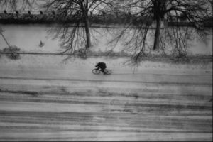Cyclist in Snow, Boston