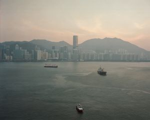 View of Hong Kong harbour from the upper deck.