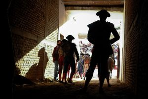 Bullfighters awaiting in the tunnel