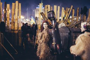 The Dakh Daughters music band goes to their concert on Euromaidan. Kiev, Dec. 21, 2014.