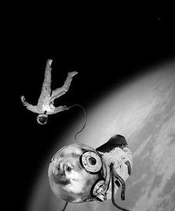 Sputnik series, Ivan and Kloka in their historical E.V.A., 1997, C-print, 100 x 70 cm © Joan Fontcuberta