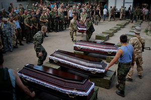 "Farewell ceremony for 12 guys, killed in the fiercest battles near Lugansk airport. July 19, 2014. Polovynkyno, base of the volunteer battalion ""Aydar"" (Ukrainian military)."