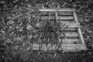 Tents and pallets.