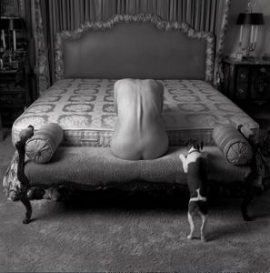 woman, dog, bed/portrait of N