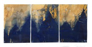 "Littoral Drift Nearshore #756 (Triptych, Isaac Hale Beach Park, Páhoa, HI 09.21.17, Splashed, Meeting Point of Kilauea's Lava Flow and Pacific Ocean)42x93"", Unique Cyanotype"