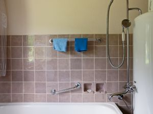 Two blue washcloths (Bathroom)