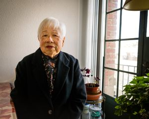 """""""I grew up poor in China during the Japanese invasion. There was a shortage of food and necessities; lots of people died from hunger. My parents took me to hide in the mountains with a few boiled eggs in our pockets. Now I'm a lucky grandma; my son and daughter-in-law love and take good care of me."""" - Chiang Chien Ching"""