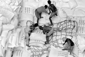 """Unloading Donations of Rice"""" Tamatave, 1995"""