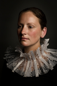 Woman with collar.