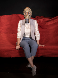 The portrait of a  woman  with mask when Covid-19 happens