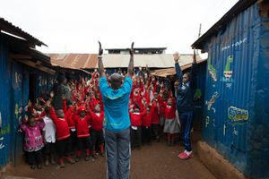 Samson Muhalia (53), teaches a class at the Marga Education Centre in the Kangemi slum.