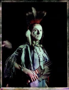#8, Czech  powwow dancer, Portrait taken at the local powwow convention, bleach Fuji Fp100c, negative scan, Kladno, Czech Rep. 2015