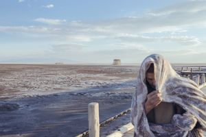 The Eyes of Earth, 2015. View from the bridge over Lake Urmia, a giant, salty, inland body of water which has dried to 10% of its former size due to damming and environmental changes.
