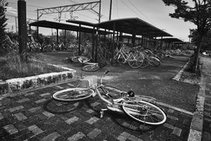 """Bicycle parking train station, from the series Fukushima """"No Go"""" Zone, © Pierpaolo Mittica."""