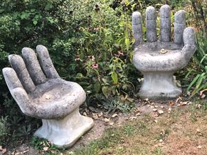 Hand Sculptures, Outside Lot 12 Restaurant, Berkeley Springs, West Virginia