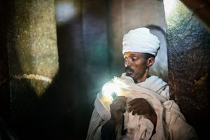 Church lighting,  Lalibela, Ethiopia